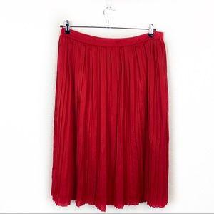 Banana Republic Red Pleated Midi Skirt Size 12